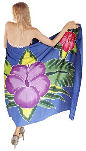 La Leela rayon spiaggia vernice della mano scarpa coprire pareo bikini 78x43 pollici blu