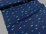 リボンシルエット デニム調プリント ネイビー紺  |北欧風|生地|布地|