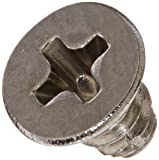 "18-8 Stainless Steel Thread Cutting Screw, Plain Finish, 82 Degree Flat Undercut Head, Phillips Drive, Type F, #4-40 Thread Size, 3/16"" Length (Pack of 100)"