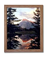 Mount Rundle In Canada Lake Snow Trees Landscape Home Decor Wall Picture Oak Framed Art Print