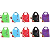 BONAMART ® 10 Assorted Colors strawberry Reusable Foldable Shopping ECO Bags pouch shoulder Tote