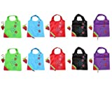 10 Newly Assorted Colors strawberry Reusable Foldable Shopping ECO Bags with pouch shoulder Tote Wholesale