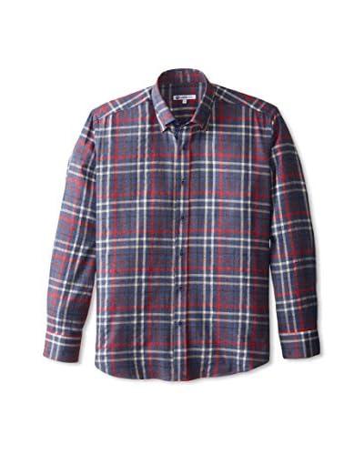 Café Bleu Men's Windowpane Flannel Sportshirt
