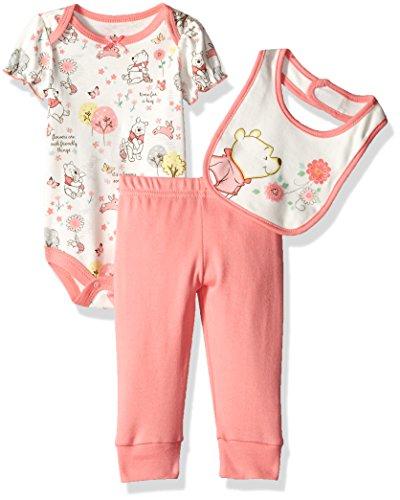 Disney Baby Girls' 3 Pack Winnie the Pooh Outfit - Bodysuit, Bib, & Pant