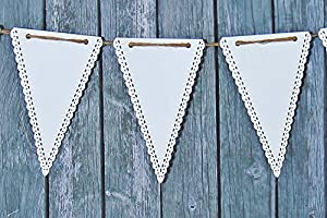 White Paper Triangle Banner Pennant , 10 Piece Garland Bunting, 9 X 5.5 Inches from Creative Juice Cafe