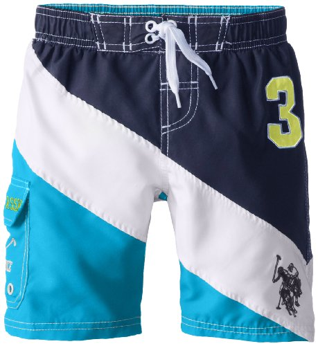 U.S. Polo Association Little Boys' Color Blocked Board Shorts, Blue, 4T