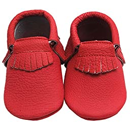 Mejale Baby Soft Sole Leather Moccasin Tassel Slip-on Infant Toddler Girl Shoes First Walker Shoes(red,12-18 months)