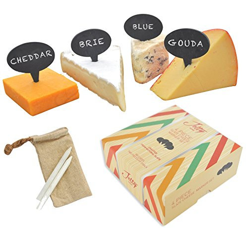Jetty Home Slate Chalkboard Cheese Marker & Label Gift Set with Chalk, 4-Pieces