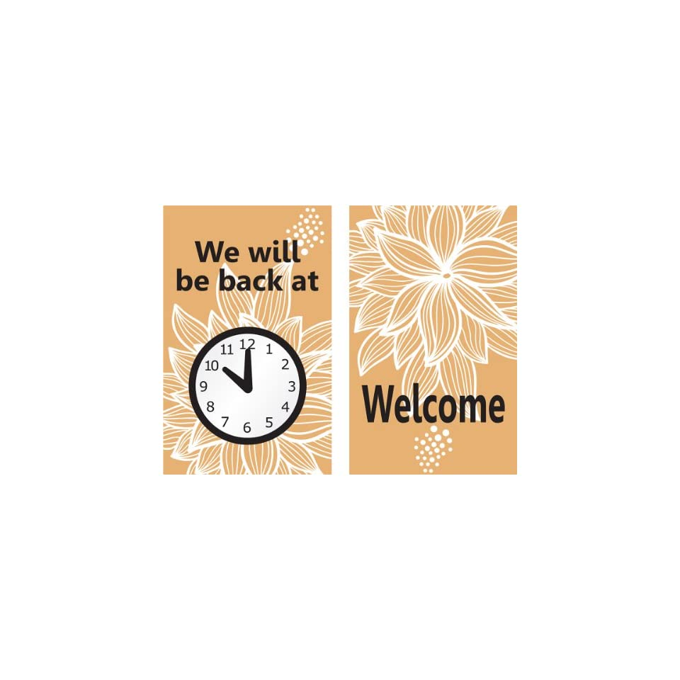 Accuform Signs MPCM509 Dura Plastic Double Sided Be Back Clock Sign, Legend WE WILL BE BACK AT (CLOCK GRAPHIC) / WELCOME, 8 Length x 5 Width x 0.062 Thickness, Black/White/Tan