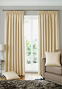 """Woven Jacquard Squares Cream 90x90"""" 229x229cm Lined Pencil Pleat Curtains Drapes by Curtains"""