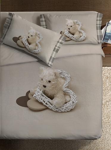 Ipersan Mon Coeur Fine-Art Parure Copripiumino Fotografico, Piazzato, Cotone, Beige/Bianco, Matrimoniale