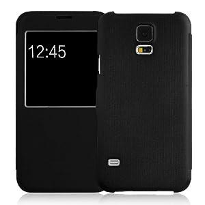 JAMMYLIZARD   Fenster Flip Case Hülle für Samsung Galaxy S5, SCHWARZ