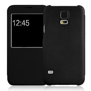 JAMMYLIZARD | Fenster Flip Case Hülle für Samsung Galaxy S5, SCHWARZ