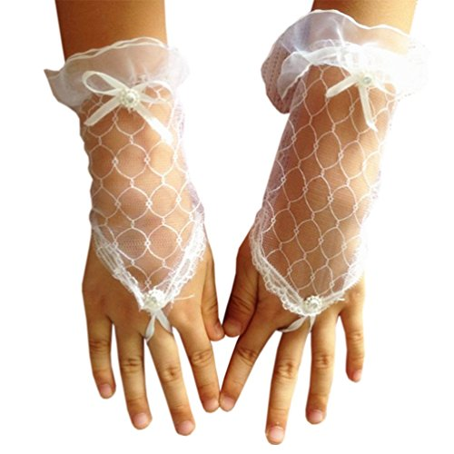 Dudebabe Flower Girl Embroidered Lace Glove Wedding Gloves Performance Pageant White One Size