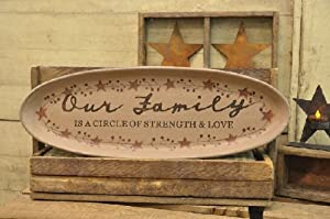 "Plate and Stand - Carved ""Our Family"" Oval Tray - Primitive Country Rustic Wood Holder Stars, Ivy, Berries, Everyday Decor"