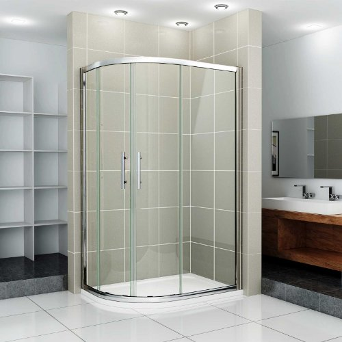 DSS 1200x900 New Walk In Left Hand Quadrant Shower Enclosure Cubicle Glass Door, Stone Tray & Waste