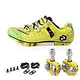 Men Women Mountain Bike Cycling Shoes and Pedals (Yellow Green + Yellow,US11/EU44/Ft28cm)