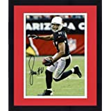 Framed Larry Fitzgerald Arizona Cardinals Autographed 8'' x 10'' Ball in Left Hand... by