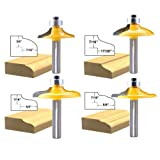 LEATBUY 1/4-Inch Shank Door&Drawer Front Edging Router Bit Set 4 PCS, Woodworking Milling Cutter Tools, Carbide CNC Router Grooving Mill Tool (Color: Yellow, Tamaño: Small)