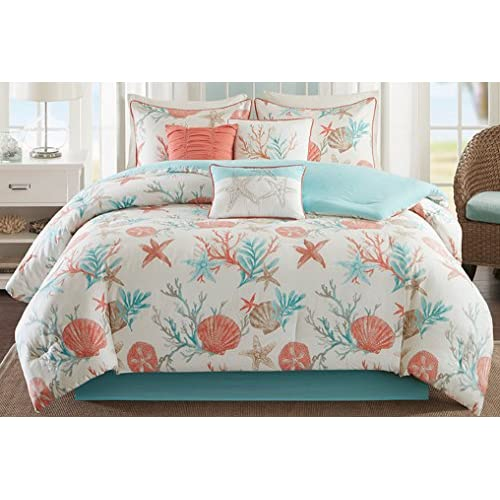 Madison Park MP10-2705 Pebble Beach 7Piece Comforter Set King , Coral , King,Coral,King