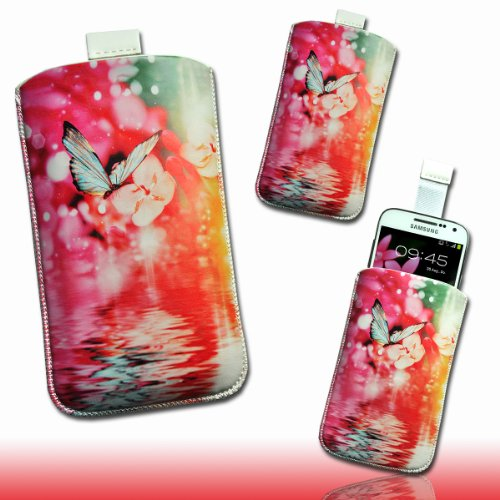 Handy Tasche Hülle Case weiß / pink / gelb / rot Butterfly Blumen DK5 Gr.3 für Samsung C3312 Rex60 / S5222R Rex80 / Galaxy Young S6310 / Galaxy Young Duos S6312 / Galaxy Pocket Plus S5301 / Samsung Galaxy Pocket Neo S5310 / Alcatel OT 903D / Alcatel OT Star 6010D