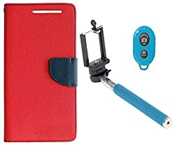 Novo Style Book Style Folio Wallet Case LenovoK4 Note Red + Selfie Stick with Adjustable Phone Holder and Bluetooth Wireless Remote Shutter