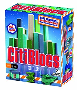 CitiBlocs - Cool Colors Precision Cut Building Blocks with 50-Pieces, 0BCTBSC50