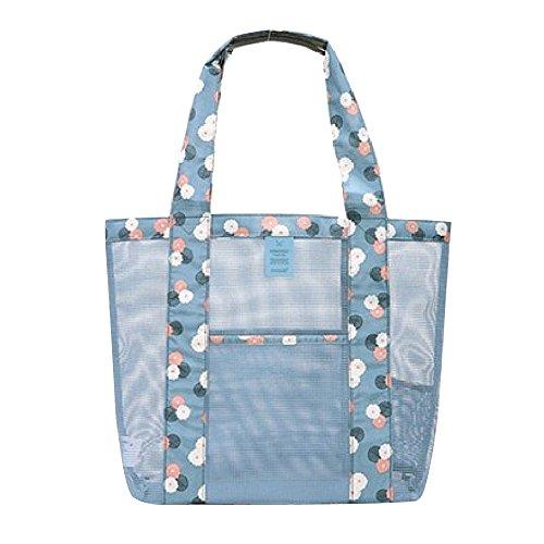 Eizur Mesh Borsa da spiaggia Larga Tote Bag con tasca Impermeabile Tenere Sabbia Multifunzionale Portatile viaggio Bag Shopping Borsa Borsetta per Donne Bambini Dimensione 350*350mm--Blu