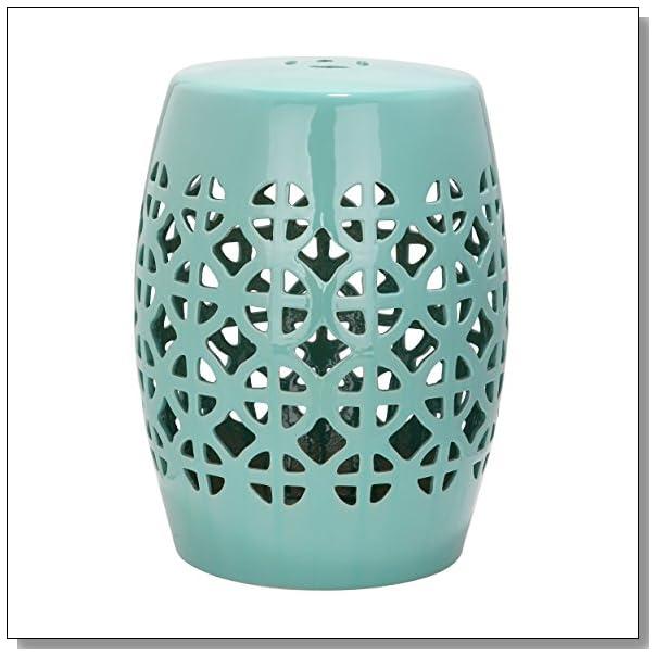 Safavieh Castle Gardens Collection Circle Lattice Ceramic Garden Stool, Light Blue