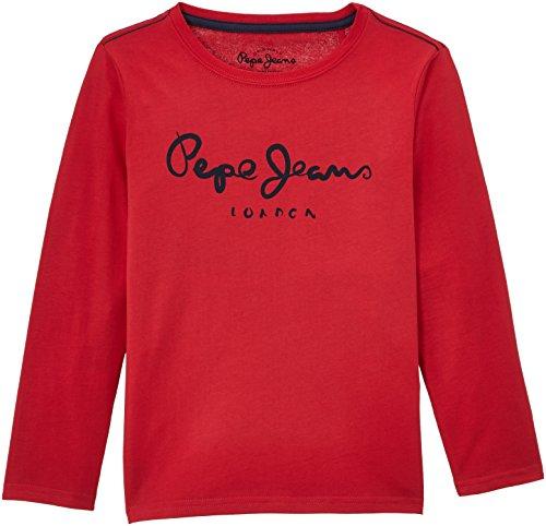 Pepe Jeans Jungen Langarmshirt HERMAN, Einfarbig, Gr. 176 (Herstellergröße: L), Rot (CRISPY RED 241)