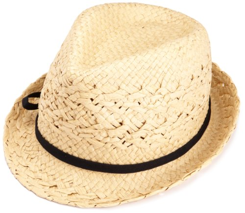 D&Y Women's Straw Fedora Hat,Natural,One Size
