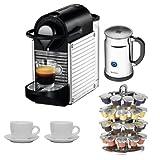 Nespresso C60 Pixie Espresso Maker w/ Aeroccino Plus (Chrome) + Nifty 40 Capsule Coffee Carousel + Accessory Kit