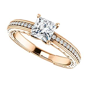 10K Rose Gold Princess Cut Diamond Engagement Ring