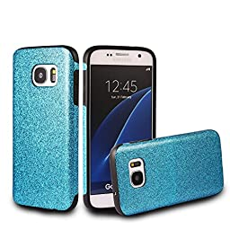 Galaxy S7 Case,Inspirationc® Beauty Luxury Hybrid Glitter Bling Soft Shiny Sparkling with Crystal Rhinestone Cover Case for Samsung Galaxy S7--Blue