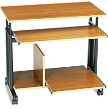 "Safco 1927MO 33"" Wide Adjustable Height Mini-Tower Workstation, 19-3/4d x 33h, Oak PVC Top"