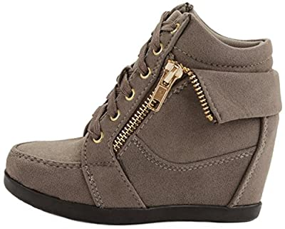 Peter Gladys24 Kids Taupe Fashion Leatherette Suede Lace-Up High Top Wedge Sneaker Bootie,Taupe_Suede,9