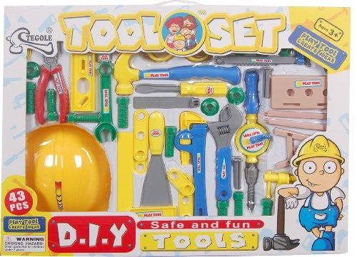 43-tlg DIY Werkzeugset für Kinder mit Bauhelm, Werkzeug, Schrauben und Zubehör