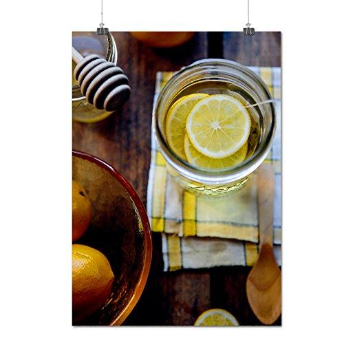 Chaud Citron Thé Avec Doux Miel Matte/Glacé Affiche A1 (84cm x 60cm)   Wellcoda