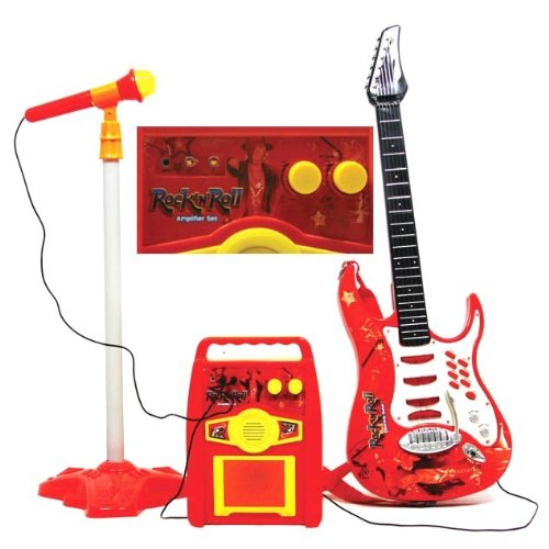 Kids Authority Rock and Roll Guitar/Microphone/Amplifier/speaker Kids toy Karaoke -Pink