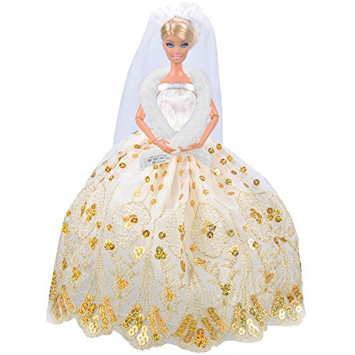 E-TING Gold strapless Princess Wedding Party Dress Clothes for Barbie Doll - 1