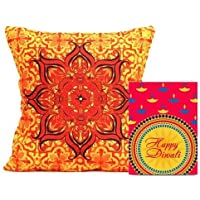 Gifts By Meeta Classy Printed Orange Cushion With Diwali Message Greeting Card For Home Décor And Diwali Gifts...