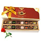 Valentine Chocholik's Belgium Chocolates - Winsome Creation Of Pralines Chocolates With Red Rose