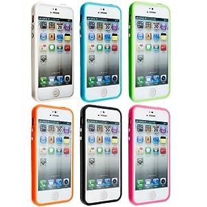 7in1 MEGASET: 6x Bumper für Apple iPhone 5 (Weiß, Schwarz, Orange, Pink, Blau, Grün) + Premium Displayschutzfolie in Kristallklar von KWMOBILE