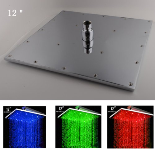 12 Inch Ceiling Mount Square Rainfall Led Shower Head Stainless Steel With Chrome Finish