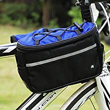 NUCKILY 4-in-1 Multifunctional 42D Polyester Blue Bicycle Frame Bag
