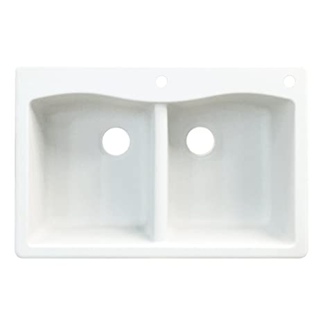 "Aversa 33"" x 22"" Drop-in Granite Double Bowl Kitchen Sink Finish: White, Faucet Drillings: 2 hole"