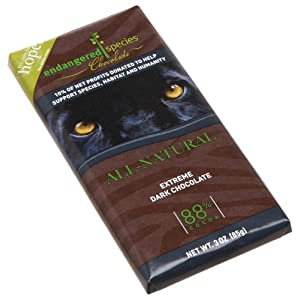 Image: Endangered Species Black Panther, Extreme Dark Chocolate (88%), 3-Ounce Bars (Pack of 12) Shade-grown ethically-traded cocoa beans from small family-owned farms