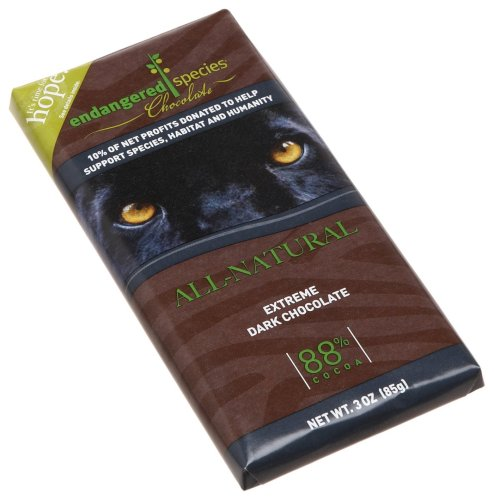 Endangered Species Black Panther, Extreme Dark Chocolate (88%), 3-Ounce Bars (Pack of 12)