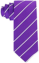 Scott Allan Men\'s Formal Pencil Stripe Necktie - Plum Purple/White