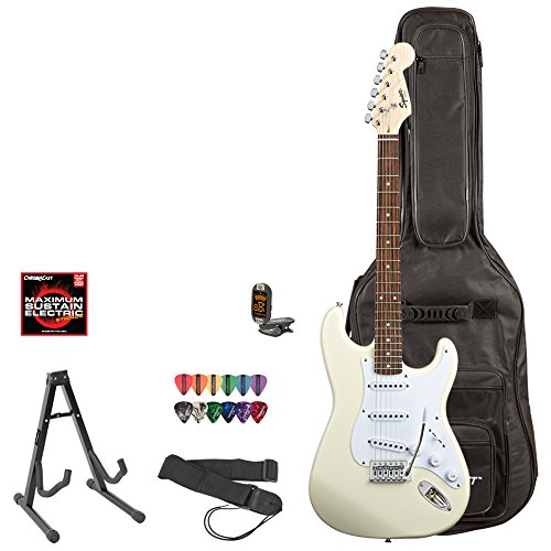 Squier Bullet By Fender (031-0001-580) Arctic White Strat With Picks, Tuner, Stand, Gig Bag, Strap, Online Lesson & Strings